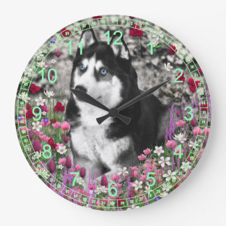 Irie the Siberian Husky in Red Flowers Large Clock