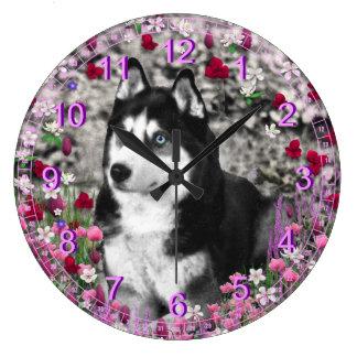 Irie the Siberian Husky in White Flowers Clocks