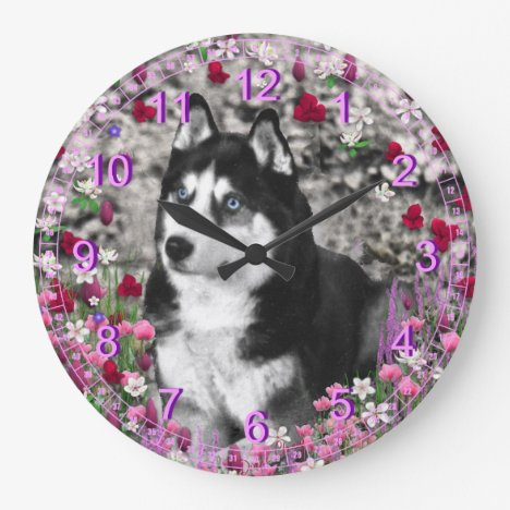 Irie the Siberian Husky in White Flowers Large Clock