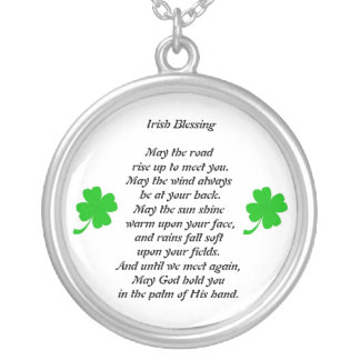 ,  Iriish blessing Silver Plated Necklace