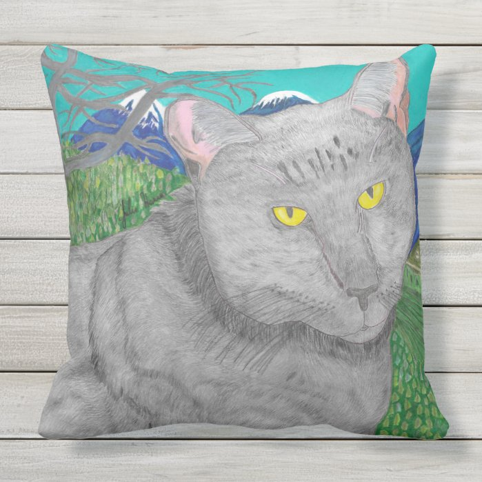 Irina The Cat And The View of Mount Baldy Throw Pillow