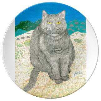 Irina The Cat At The Pinnacles Plate Porcelain Plate
