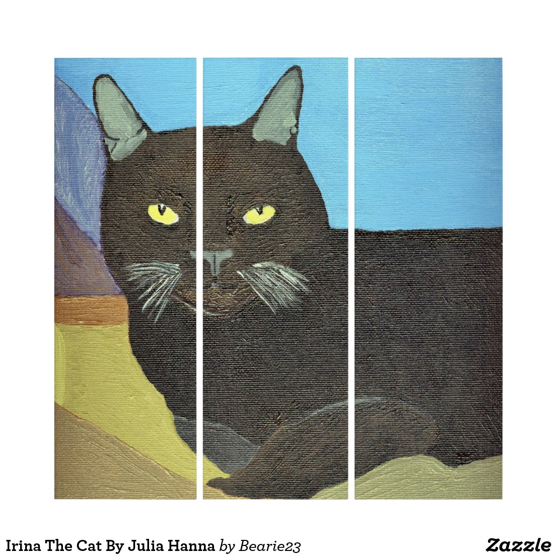 Irina The Cat By Julia Hanna Triptych