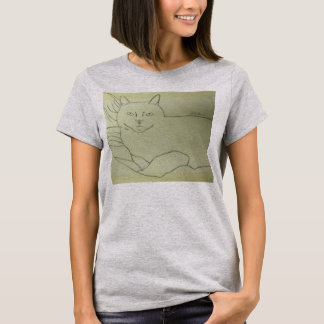 Irina The Cat Drawing By Julia Hanna T-Shirt