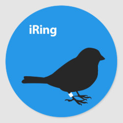Round Sticker with iRing Blue design
