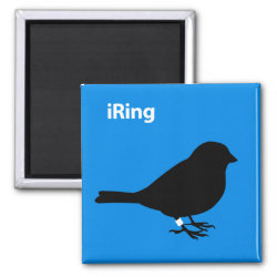 Square Magnet with iRing Blue design