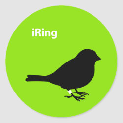 Round Sticker with iRing Green design