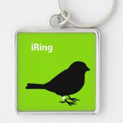 Premium Square Keychain with iRing Green design