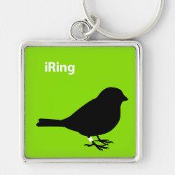 Premium Square Keychain with iRing Green design