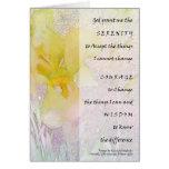Iris amarillo del rezo de la serenidad tarjeta de felicitación