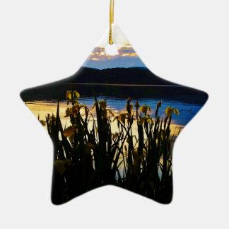Iris amarillo en la orilla de la punta de flecha adorno navideño de cerámica en forma de estrella