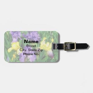 Iris amarillos y púrpuras etiqueta de maleta