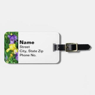Iris amarillos y púrpuras etiquetas de equipaje