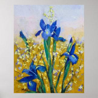 Iris and Forsythia Print