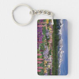Iris and Lupine garden and Teton Range, Double-Sided Rectangular Acrylic Keychain
