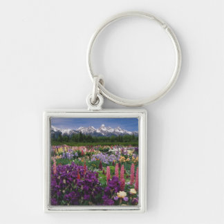 Iris and Lupine garden and Teton Range, Silver-Colored Square Keychain