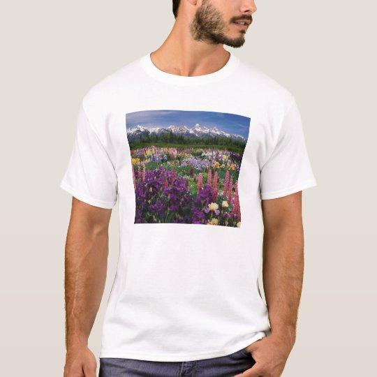 Iris and Lupine garden and Teton Range, T-Shirt