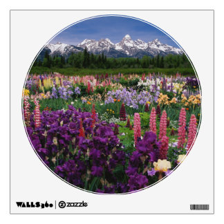 Iris and Lupine garden and Teton Range, Room Decals