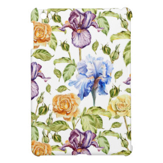 Iris and roses watercolor floral pattern case for the iPad mini