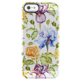Iris and roses watercolor floral pattern clear iPhone SE/5/5s case
