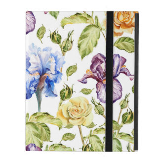 Iris and roses watercolor floral pattern iPad folio case