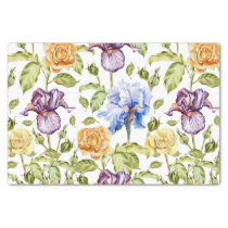 Iris and roses watercolor floral pattern tissue paper
