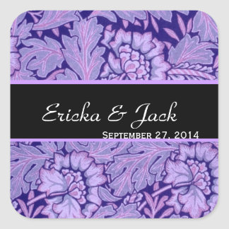 Iris and Royal Purple Vintage Damask Wedding Stickers