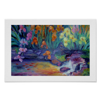 Iris and the Goldfish Pool by Sue Ann Jackson Poster