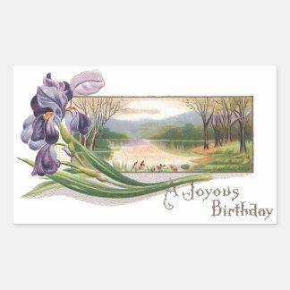 Iris and Wilderness Scene Vintage Birthday Rectangular Sticker