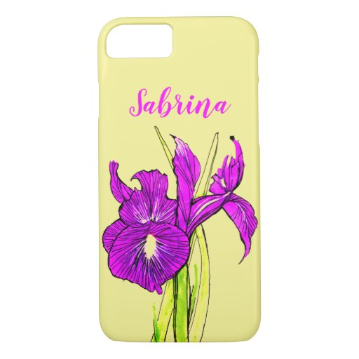 Iris art text yellow purpleText iPhone 8/7 Case