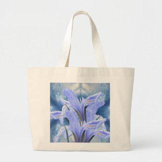 Iris azul de la gota de agua bolsa tela grande
