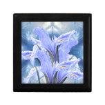 Iris azul de la gota de agua caja de regalo cuadrada pequeña