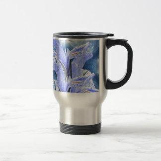 Iris azul de la gota de agua taza térmica