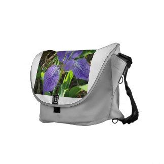 Iris azul en jardín en la bolsa de mensajero bolsa messenger