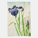 Iris azul - impresión japonesa de la acuarela toalla de cocina