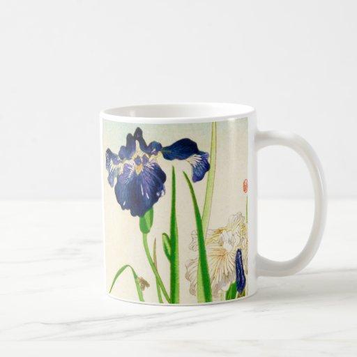 Iris azul - impresión japonesa de la acuarela taza