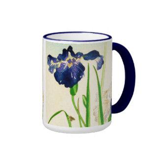 Iris azul - impresión japonesa de la acuarela taza de dos colores
