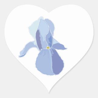 Iris azul calcomania de corazon