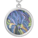 Iris azul pendientes personalizados