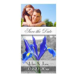 "Iris azul /photo ""reserva la fecha "" plantilla para tarjeta de foto"