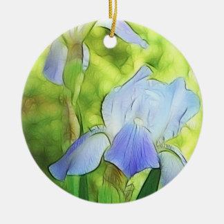 Iris azules románticos adorno navideño redondo de cerámica