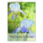 Iris azules románticos felicitación