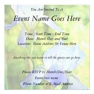 Iris azules románticos invitaciones personalizada