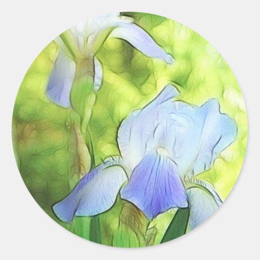 Iris azules románticos pegatina redonda