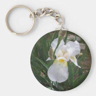 Iris blanco llavero redondo tipo pin