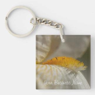 Iris blanco y amarillo; Promocional Llavero Cuadrado Acrílico A Una Cara