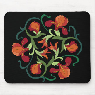 Iris Blooms Interwoven on Black Mousepad