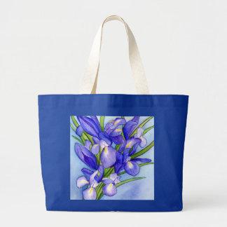 Iris Bouquet Flower Painting Tote Bag