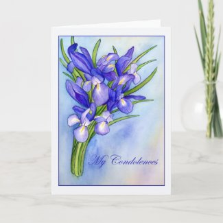 "Iris Bouquet ""My Condolences"" Greeting Card"