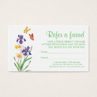 Iris butterfly refer a friend business cards